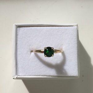 Deep Green Tsavorite Garnet Ring, Size 6